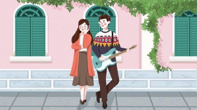 情侶音樂吉他耳機 插畫素材