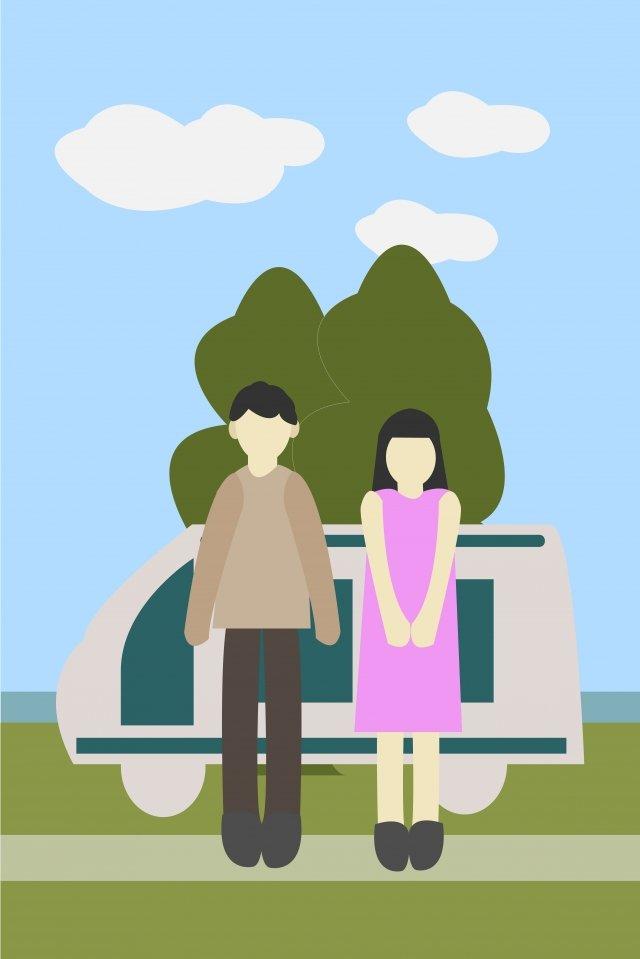 カップルの屋外自動運転ツアー自動運転旅行 イラスト画像