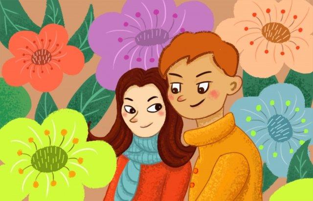 couple petal boy cute girl, Love, Horizontal Illustration, Graphic Design illustration image