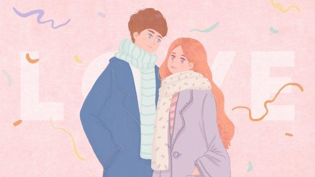 カップルピンクの男の子の女の子 イラスト素材 イラスト画像