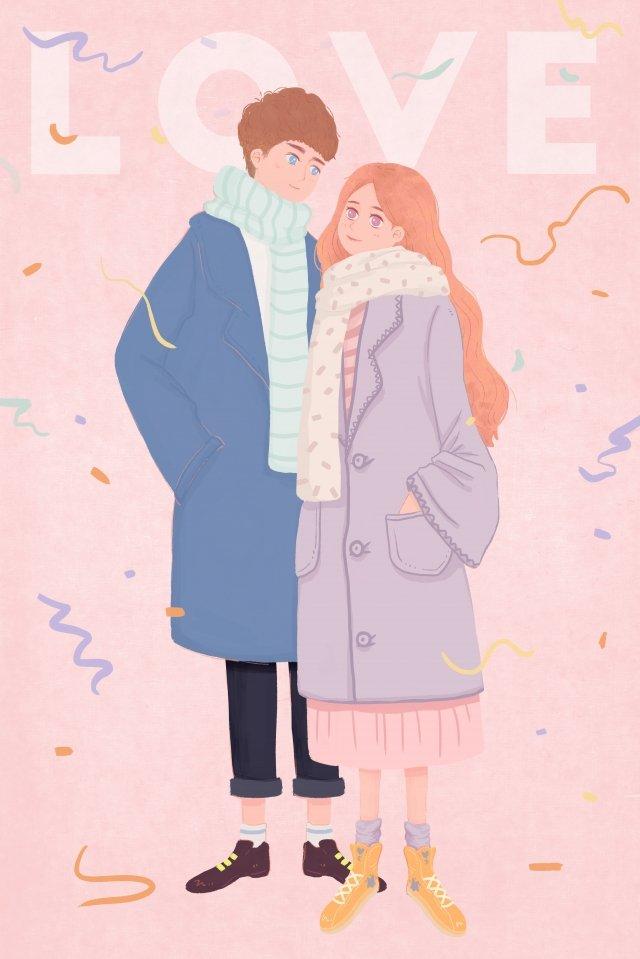 カップルピンクの男の子の女の子 イラスト素材
