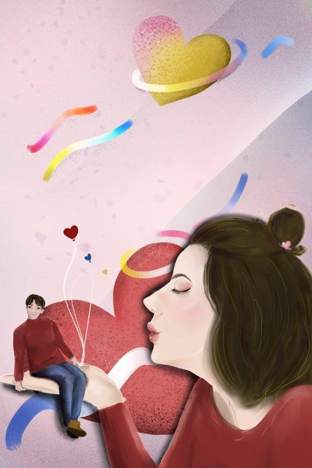 cặp đôi tình yêu màu hồng sáng tạo Hình minh họa Hình minh họa