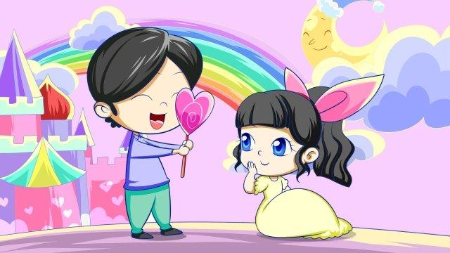 couple romantic purple hand painted, Illustration, Rainbow, Love illustration image