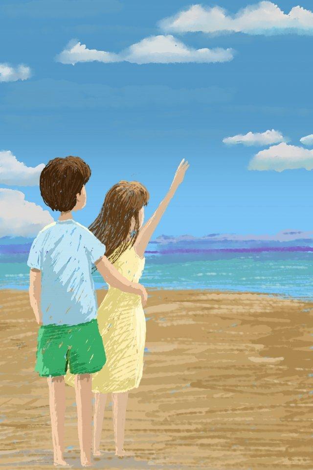 pasangan romantik menonton cinta laut imej keterlaluan