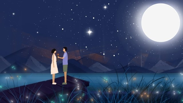 couple starry sky moonlight couple hand drawn, Night, Star, Lakeside illustration image