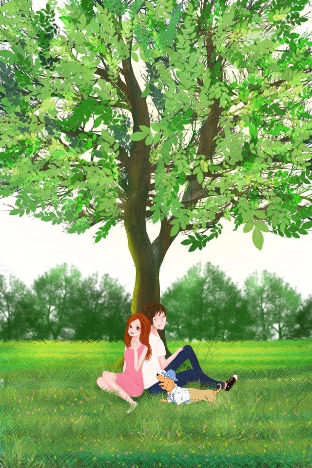 커플 여름 초원 큰 나무 삽화 소재
