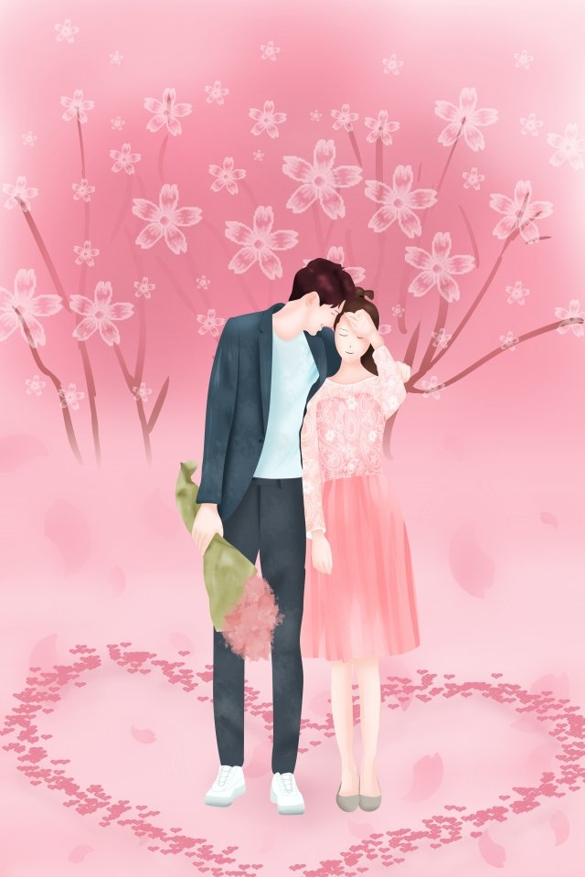couple tanabata cherry blossoms romantic, Happy, Love, Hand Drawn Illustration illustration image