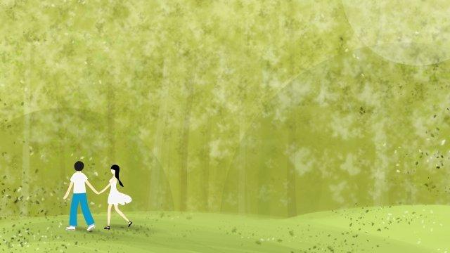 手を繋いでいる森の中を歩くカップル イラストレーション画像