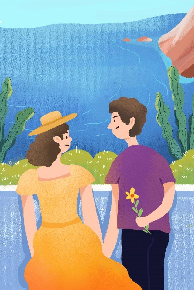 couple walking romantic valentines day, Commemorating Tanabata, Illustration, Sea illustration image