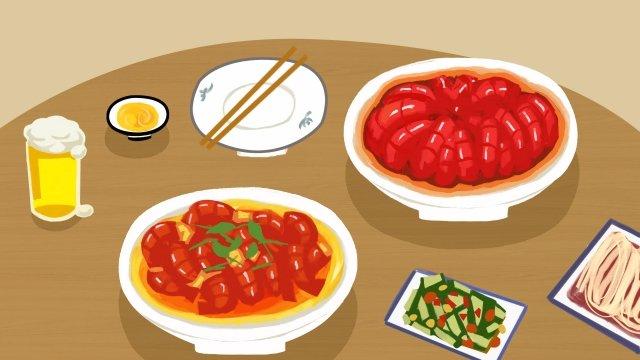 왕새우 매운 새우 음식 삽화 소재 삽화 이미지