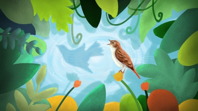 creative dream healing illustration, Hand Painted, Cartoon, Little Bird illustration image