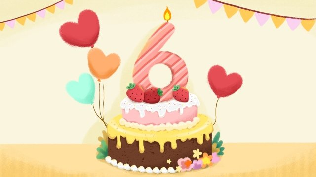 creative number cake candle balloon llustration image