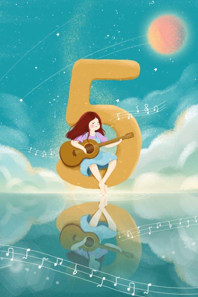 रचनात्मक संख्या लड़की गिटार आकाश खेल रहा है चित्रण छवि चित्रण छवि