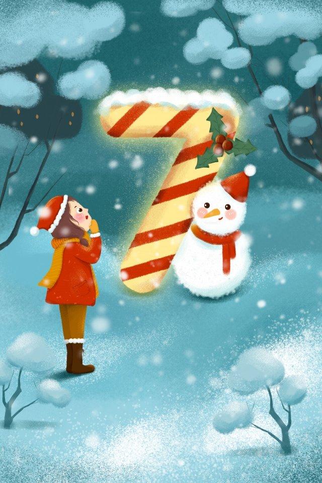 크리 에이 티브 번호 눈사람 소녀 파란색 삽화 소재 삽화 이미지