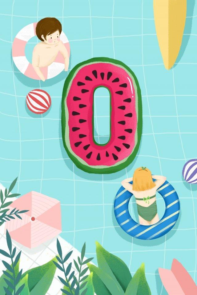 número criativo piscina natação anel prancha imagem de ilustração