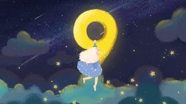creative number teenage girl starry sky blue, Blue, Cartoon, Illustration illustration image