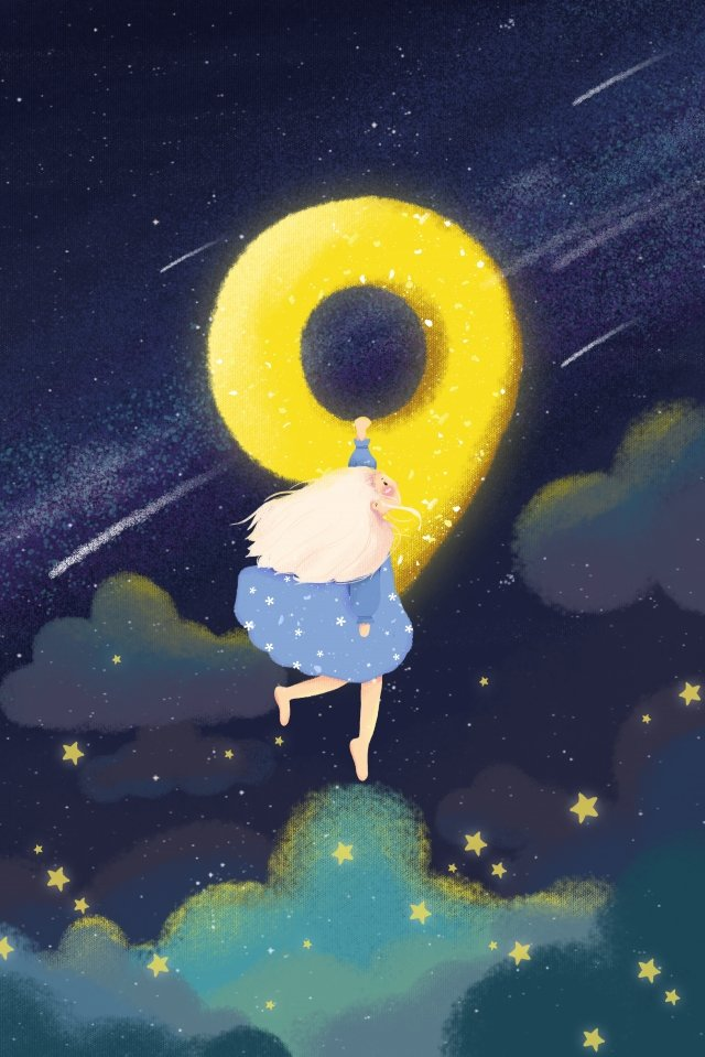 creative number teenage girl starry sky blue, Blue, Cartoon, Illustration illustration image