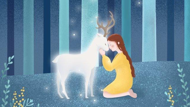 cure forest girl deer, Deer, Cure, Forest illustration image