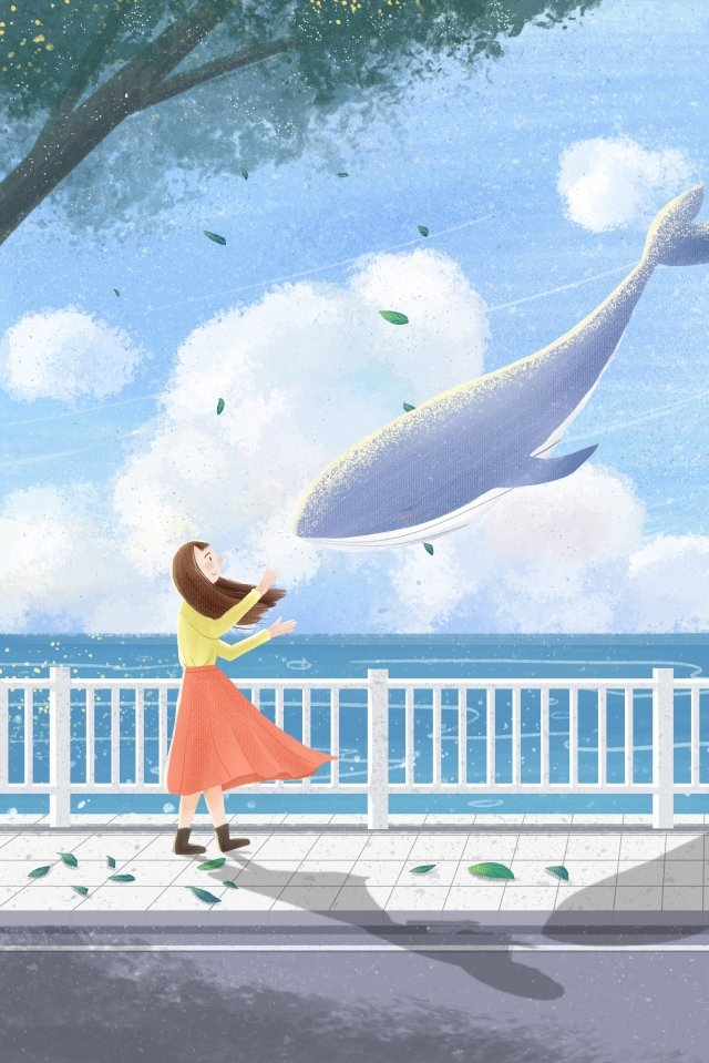 cure girl whale cloud, Dream, Hand, Drawn illustration image