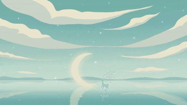 cure green moon deer llustration image