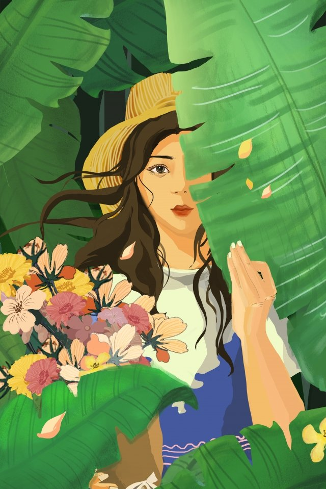 cure hand painted illustration girl, Beautiful, Flowers, Spring illustration image