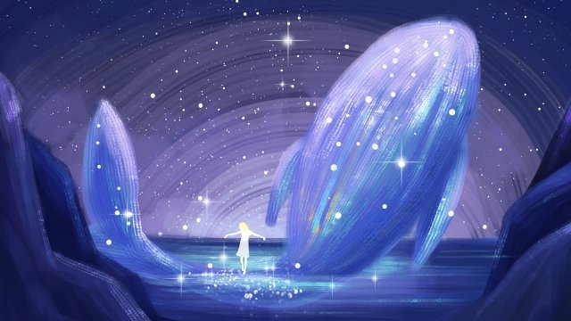 cure healing beautiful whale, Whale, Starry Sky, Lake Surface illustration image