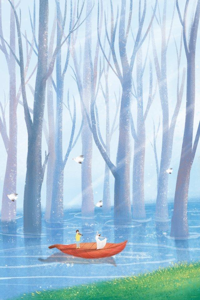 癒し系シーンカップル手描き縦画像 治療法 癒し系 風景 手描き クールカラー治療法  癒し系  風景 PNGおよびPSD illustration image