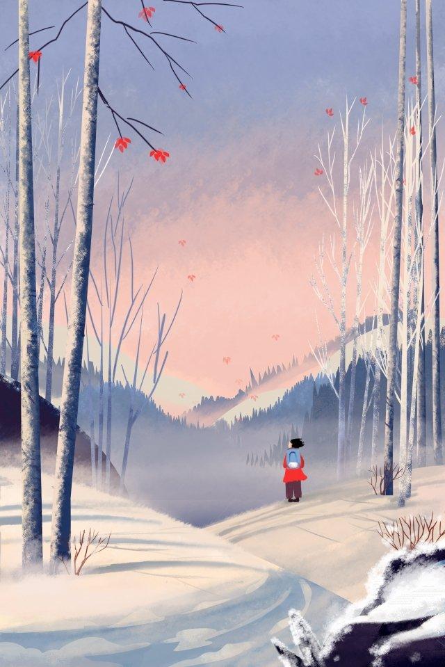 10代の少女イラスト冬雪シーン距離を治療します。 イラストレーション画像
