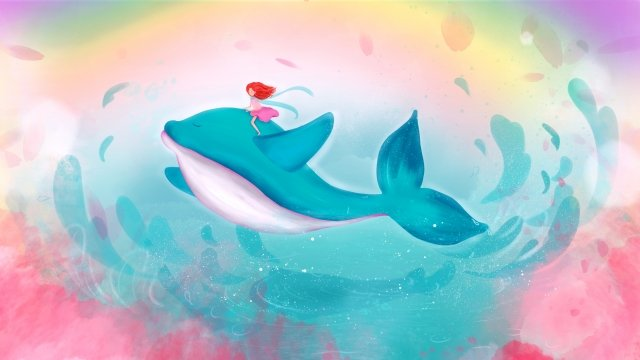 ファンタジー癒しの少女クジラフライングスカイ手描きイラスト 治療法 クジラ 空 海中 虹 花びらファンタジー癒しの少女クジラフライングスカイ手描きイラスト  治療法  クジラ PNGおよびPSD illustration image