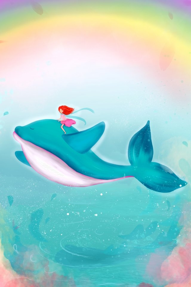 cure whale sky seabed, Rainbow, Petal, Hand illustration image