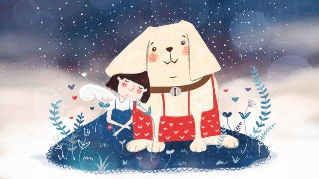 cute pet cartoon dog cute girl angel wings, Blue Skirt, Flowers And Plants, Starry Sky illustration image