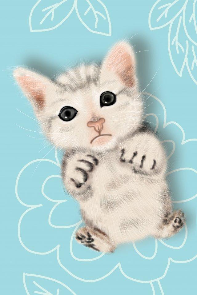 cute pet lovely cat hand painted, Illustration, Pet, Meng illustration image