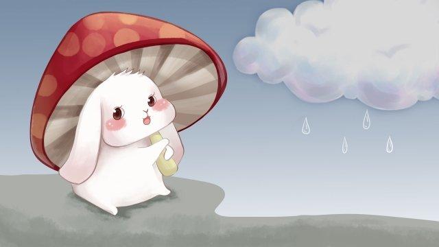 प्यारा खरगोश मशरूम बादल दिन हाथ चित्रण खींचा चित्रण छवि