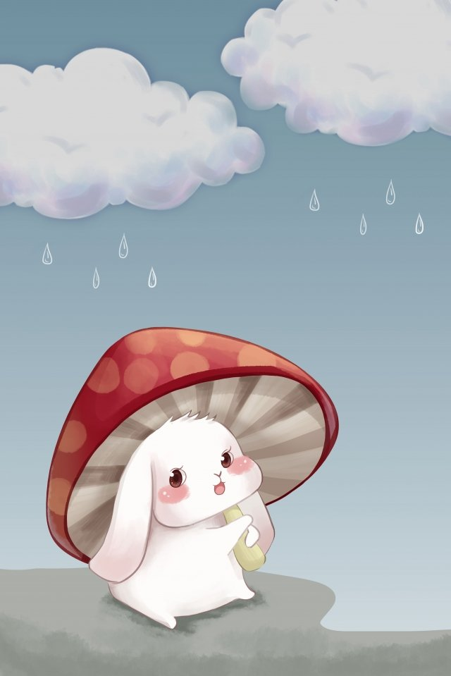 cute rabbit mushroom cloudy day hand drawn illustration, Cute Rabbit, Mushroom, Cloudy Day illustration image