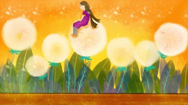 dandelion girl beautiful hand painted, Self-healing System, Warm Color, Bright illustration image