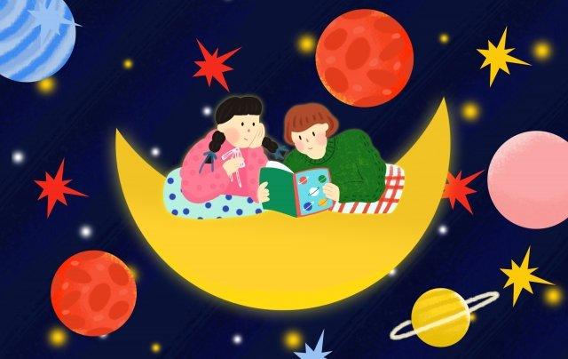 dark blue universe starry sky teenage girl, Friendship, Planet, Moon illustration image