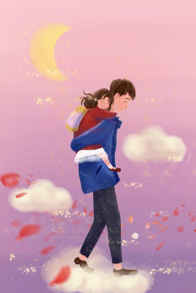 娘の父と娘の父のバレンタインデー イラストレーション画像