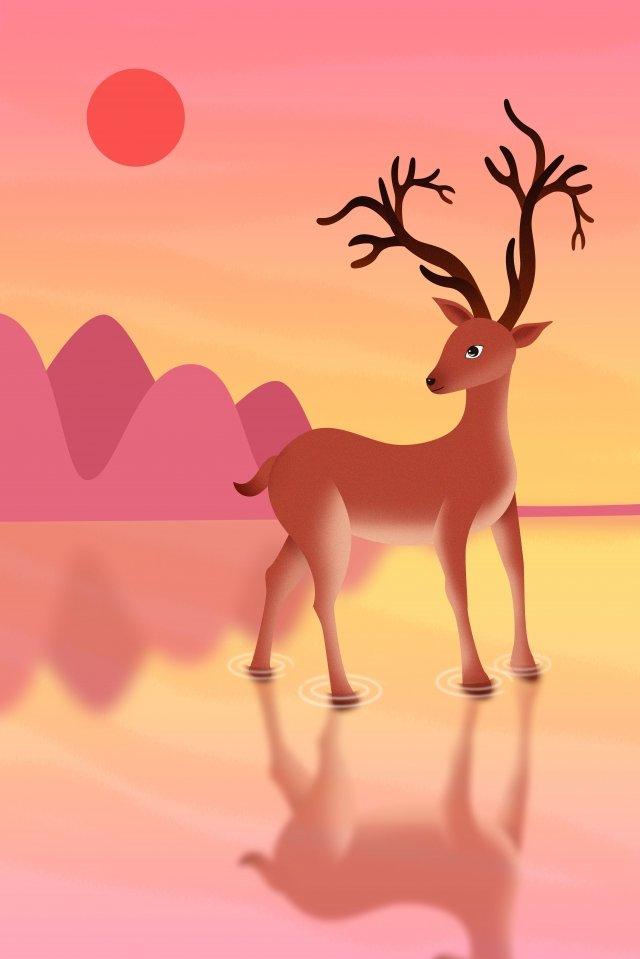 deer animal elk wild animals, National Protected Animal, Illustration, Deer illustration image