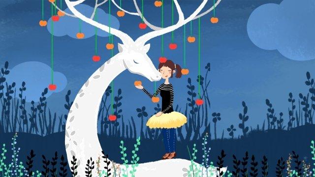 사슴 동물 어린 소녀 과일 삽화 소재