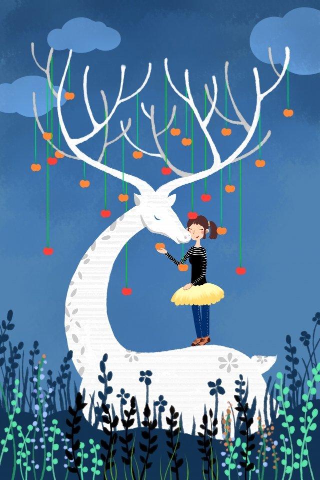 사슴 동물 어린 소녀 과일 삽화 소재 삽화 이미지