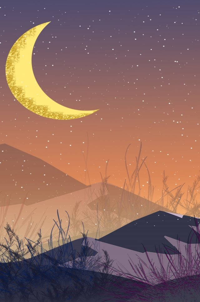 砂漠の夜景スター手 イラストレーション画像