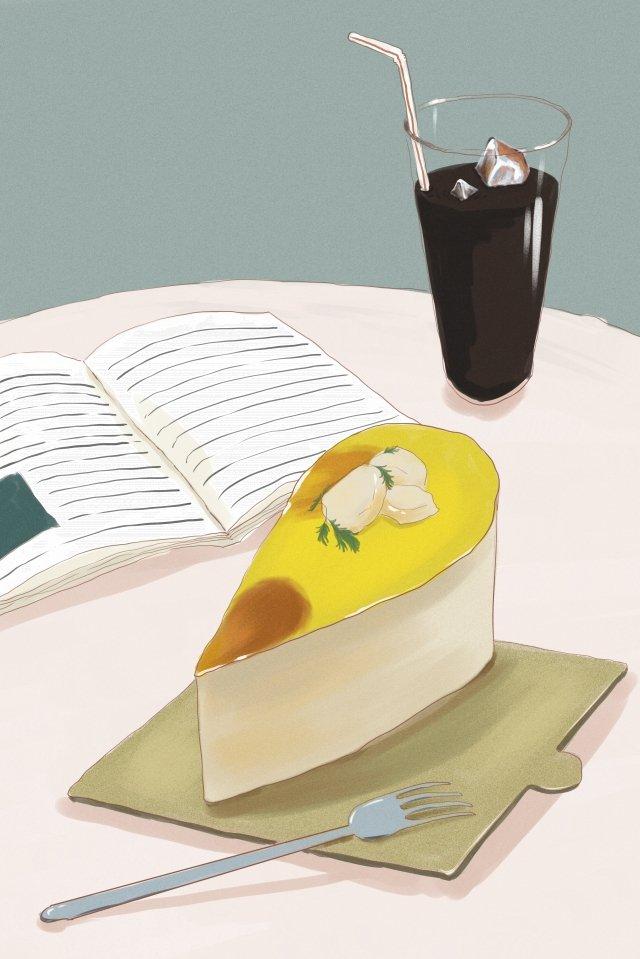 甜點蛋糕可樂下午 插畫素材