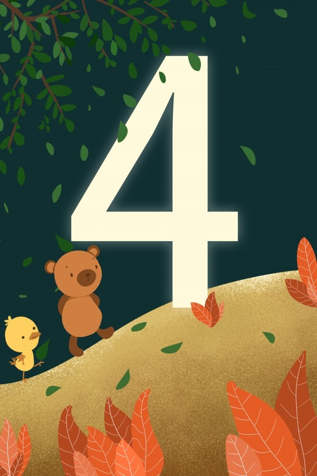 digital 4 countdown hand painted, Illustration, Digital, 4 illustration image