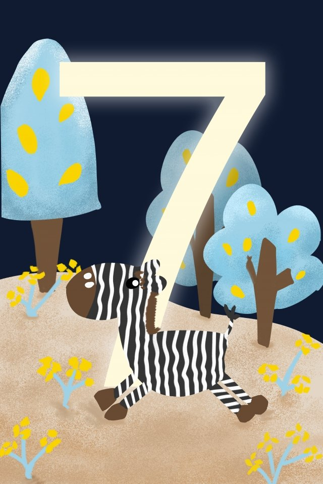 digital 7 countdown hand painted, Illustration, Digital, 7 illustration image