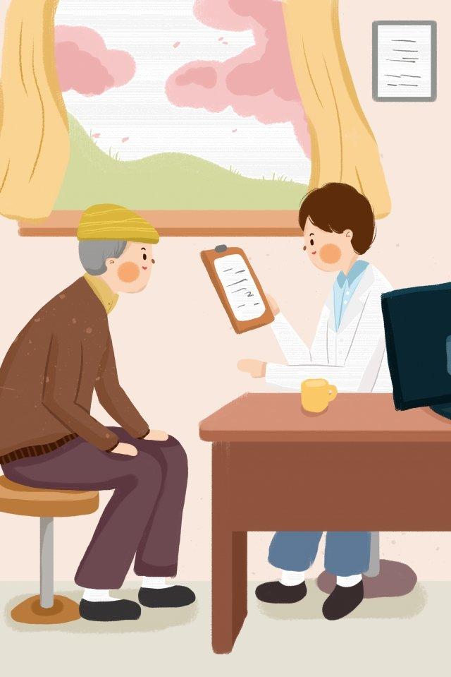 医師老人は医者の診療所を見る イラスト素材