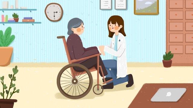 医師老人が医者を見る車椅子 イラスト素材 イラスト画像