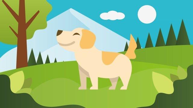 犬公園動物ラブリー イラストレーション画像
