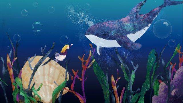イルカ風景海底植物 イラスト素材