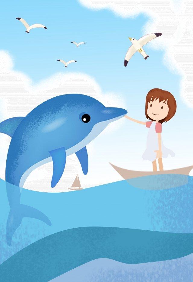 イルカ対少女 イラスト画像