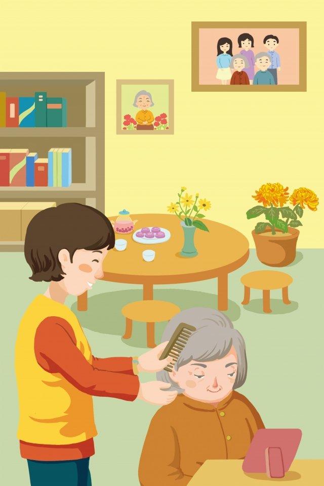 高齢者介護老人の世話をする二重九祭 イラスト素材